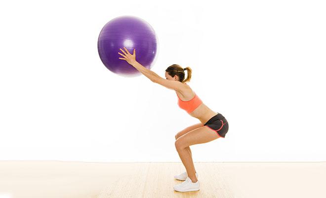 Stability Ball Overhead Squat